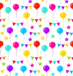 Seamless texture with bunting party flags balloons vector