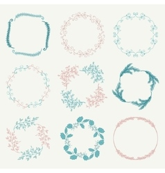 Colorful hand sketched floral frames vector