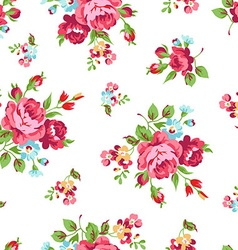 Seamless floral pattern with red roses vector image