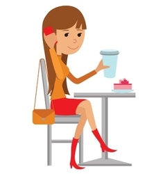 Coffee shop flat young woman vector