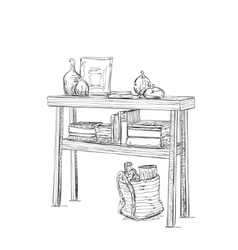 Table dishes and books furniture sketch vector