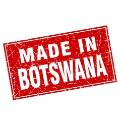 Botswana red square grunge made in stamp vector