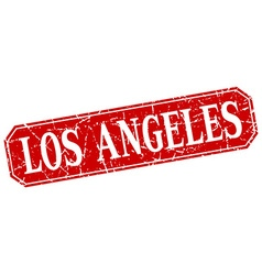 Los angeles red square grunge retro style sign vector