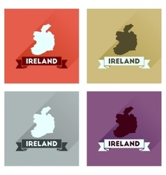 Concept flat icons with long shadow ireland map vector