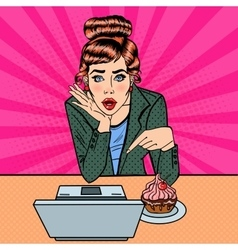 Surprised woman pointing on the laptop pop art vector