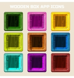 Colors square wooden box app icons vector