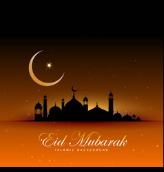 Awesome eid mubarak background with mosque and vector