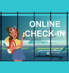 Backpacking woman wwith online check-in at airport vector