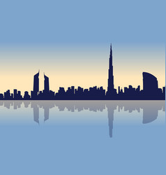 Beauty landscape of dubai city silhouettes vector