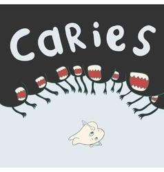 Caries surrounds defenseless tooth on all sides vector