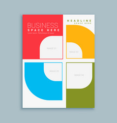Company brochure template with colorful shapes vector