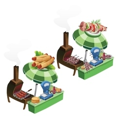Cooking and selling barbecue sausage outdoors vector