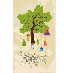 Cute colorful tree bird house vector image