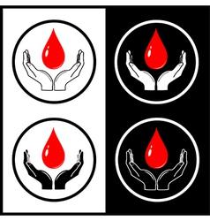 Drop in hands icons vector