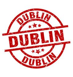 Dublin red round grunge stamp vector