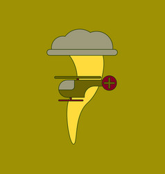 Flat icon stylish background tornado helicopter vector