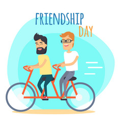 friendship day two best friends on double bicycle vector image