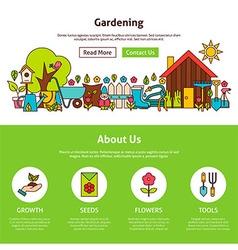 Gardening Flat Outline Web Design Template vector image