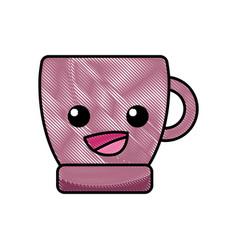 grated happy coffee cup kawaii cartoon vector image vector image