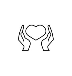 health care and hearth in hands icon vector image vector image