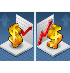 Isometric symbol of dollar with red arrow up vector