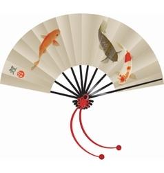 Japanese koi fan vector