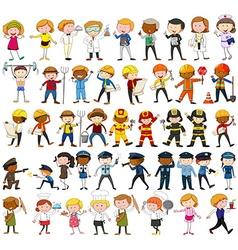 Many characters with different occupations vector image vector image