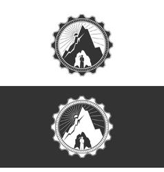 Miner against Mountains in GearDesign Element vector image
