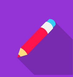Pencil icon flat single education icon from the vector