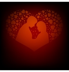 Red design with two lovers vector image vector image