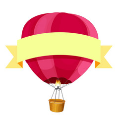 Red hotair balloon and yellow ribbon vector