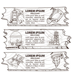 set of three banners treasure hunters prospectors vector image
