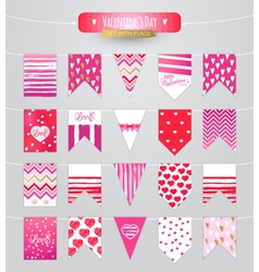 Set with flag on Valentines day vector image vector image