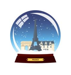 snow globe city paris in snow globe france vector image