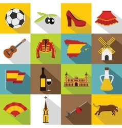 Spain travel icons set flat style vector