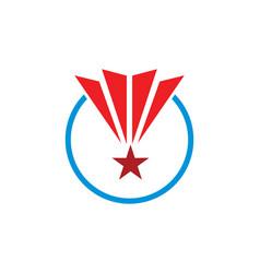 Star pride round shape victory logo vector
