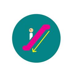 Stylish icon in color circle escalator down vector