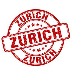 Zurich red grunge round vintage rubber stamp vector
