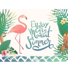 Bright summer with lettering vector