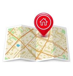 City map with label home pin vector