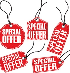 Special offer red tag set vector
