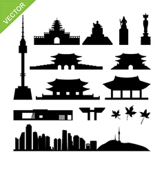 Seoul south korea landmark silhouettes vector