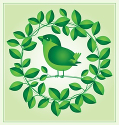 Little bird with green leaf vector