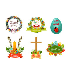 Easter spring holiday cartoon symbol set vector