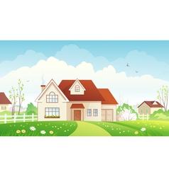 Spring cottage vector image