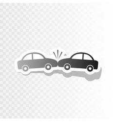 crashed cars sign  new year blackish icon vector image