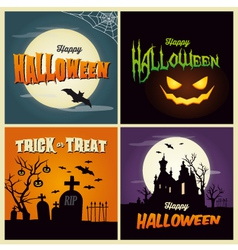 Happy halloween set card vector