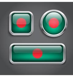 Bangladesh flag glass buttons vector image