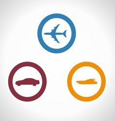 Of transportation icons boat p vector