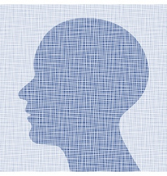 Blue head profile on canvas texture vector